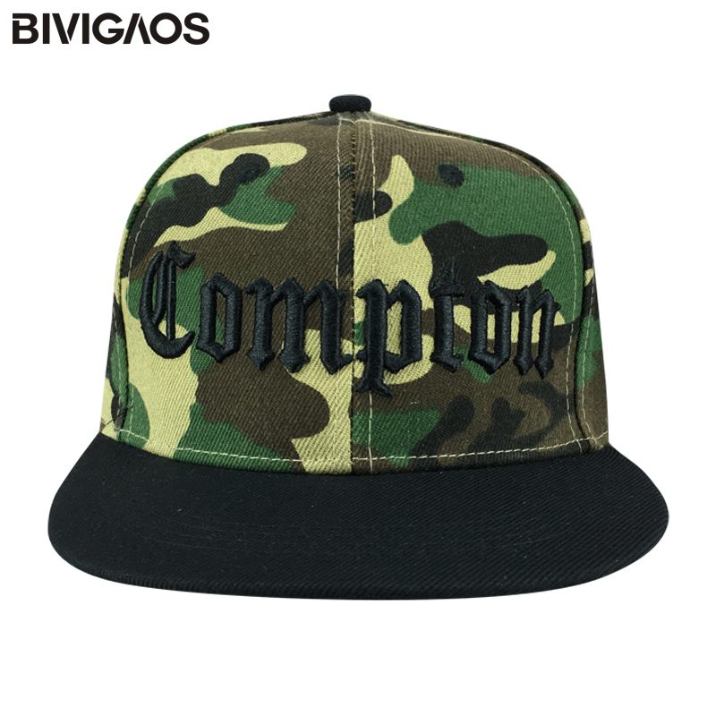 Fashion Snapback Camouflage Compton Letters Embroidery Casual Hats Hip Hop Baseball Caps Skateboard Bone Gorras For Men Women high quality 2017 fashion adjustable hole letters embroidery design baseball caps men women hip hop streetwear snapback hats