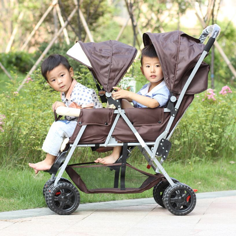 Lightweight Twin Baby Stroller,Luxury Baby Car Strollers,High Prams and Pushchairs Double Stroller,Newborn Baby Pram Twins Cheap big space twins prams for children 0 4 years baby carrinho for twin with all cover sun canopy oxford fabric twin baby carrier