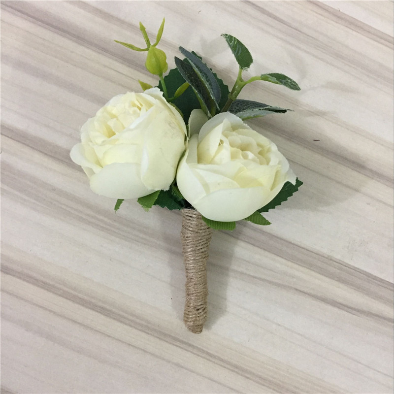 Gents Groom Bestman Fathers Ivory Rose Wedding Flower Double Crystal Buttonhole