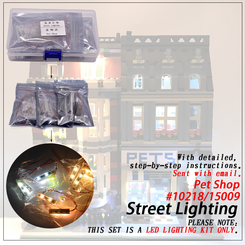 Jeu de lumière LED (seulement lumière incluse) pour les legoings 10218 Pet Shop Compatible 15009 Streetview créateur blocs de construction briques jouet