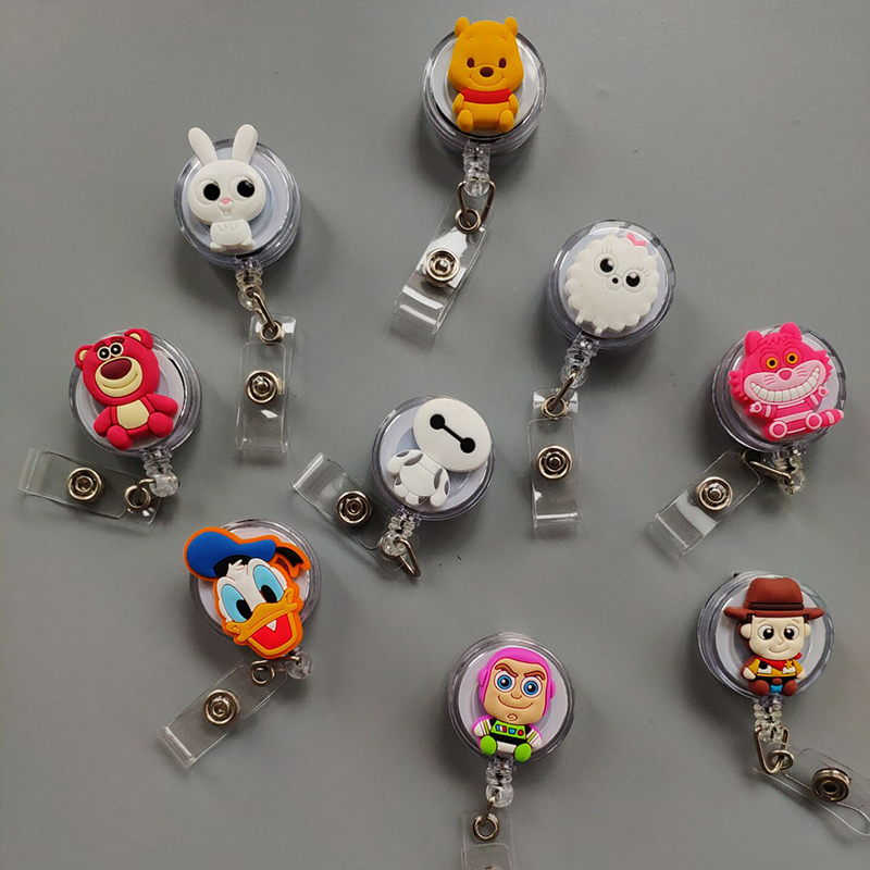 30Pcs Transparent Retractable Badge Reel ABS Plastic Cartoon Nurse ID Lanyard Name Tag Card Badge Holder Reels Badge Reel Lot