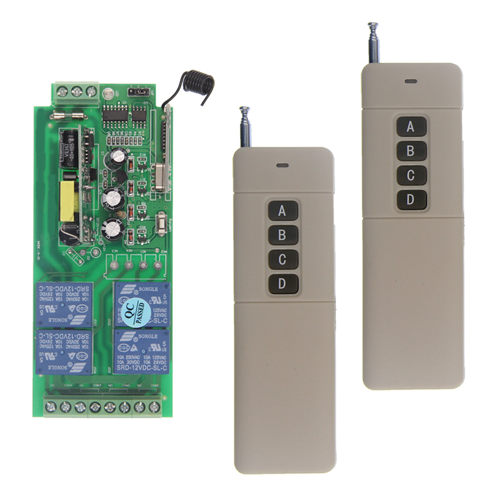 цена на 3000m AC 85V-265V 110V 220V 4 CH 4CH RF Wireless Remote Control Switch System Receiver + 2 X Transmitter, 315 433 MHz
