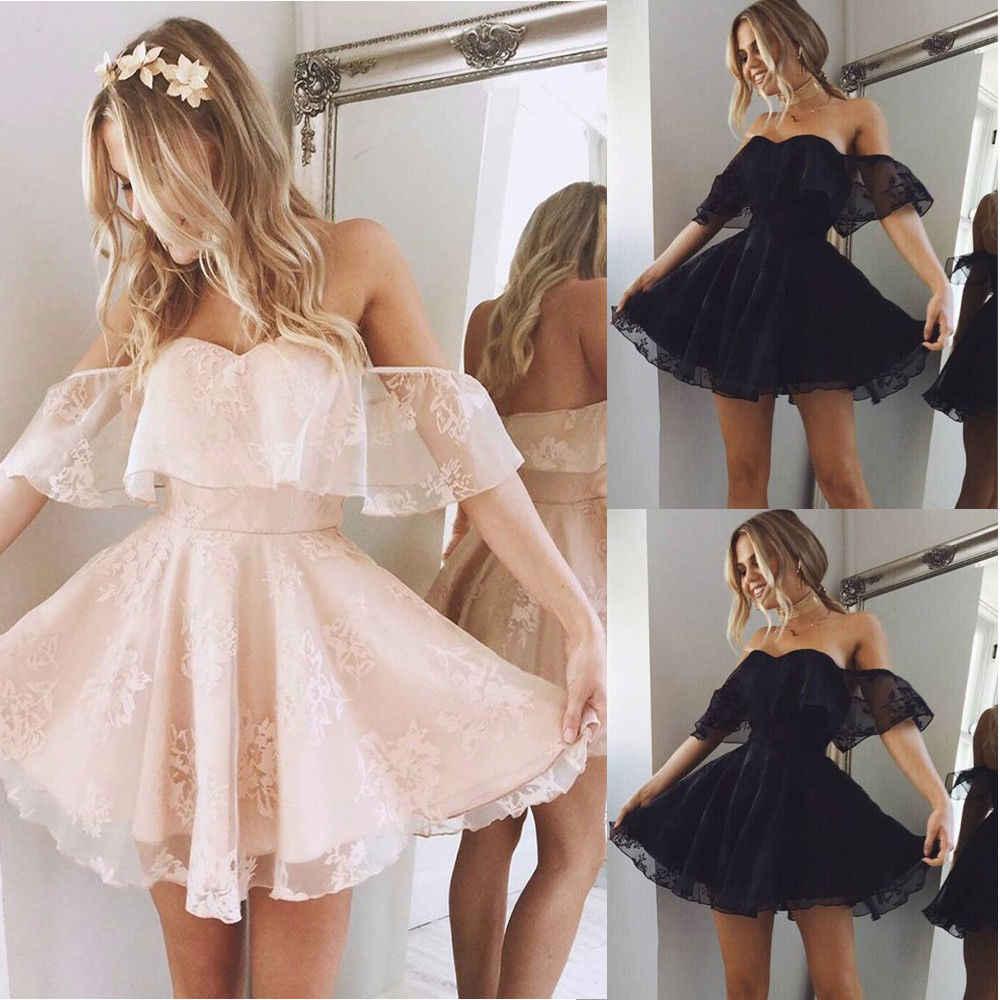 新トレンディ女性の正式なレースドレス夏ドレスウエディングオフショルダーパーティーウェディングドレス半袖ショートミニドレス固体黒ピンク