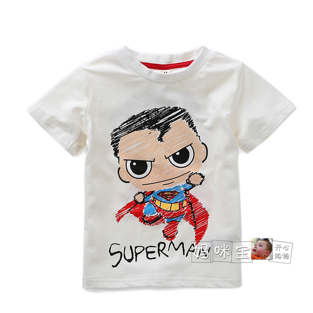 new 2015 summer style t shirt kids clothes baby boys short sleeved superman t-shirts children casual super-soft tee pullover