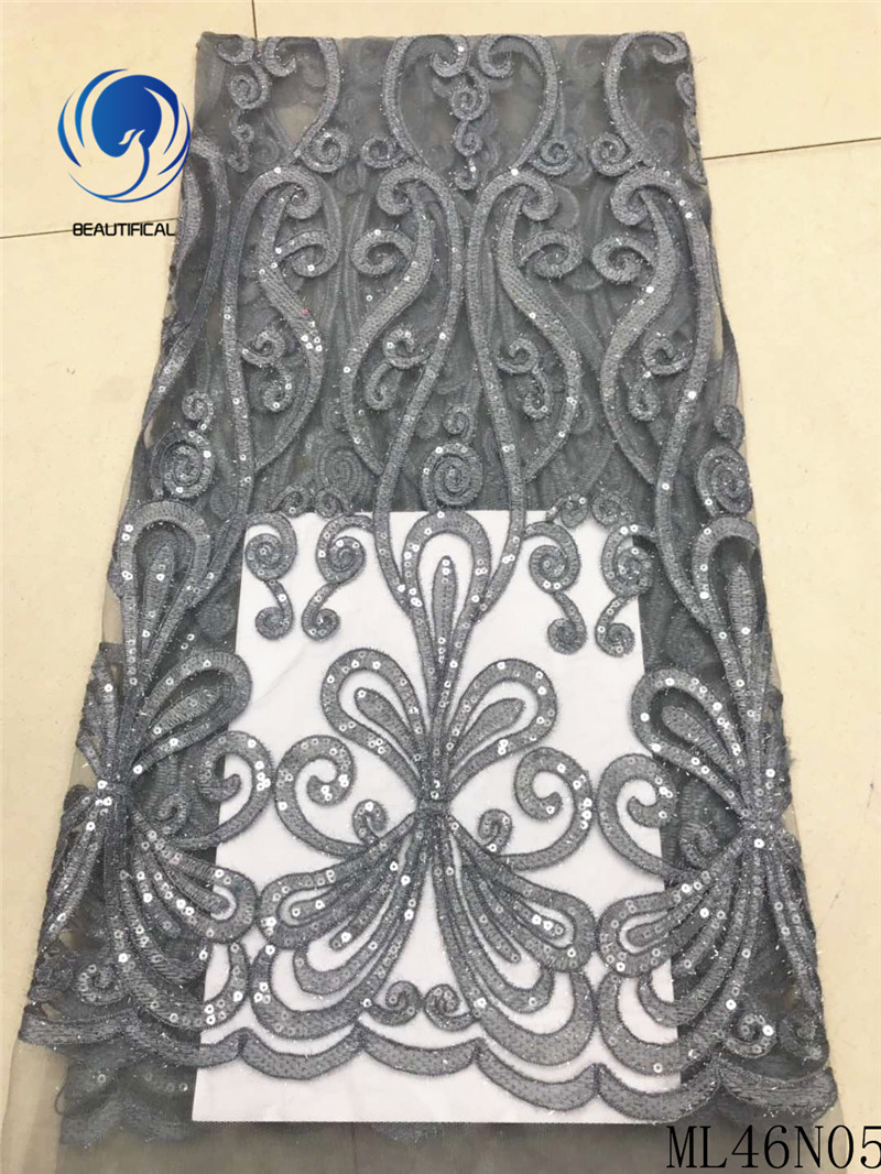 BEAUTIFICAL grey lace fabric latest tulle fabric lace 2019 french lace fabric latest with sequins african