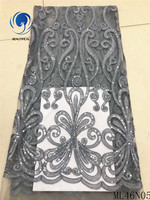 BEAUTIFICAL grey lace fabric latest tulle fabric lace 2019 french lace fabric latest with sequins african quality ML46N05