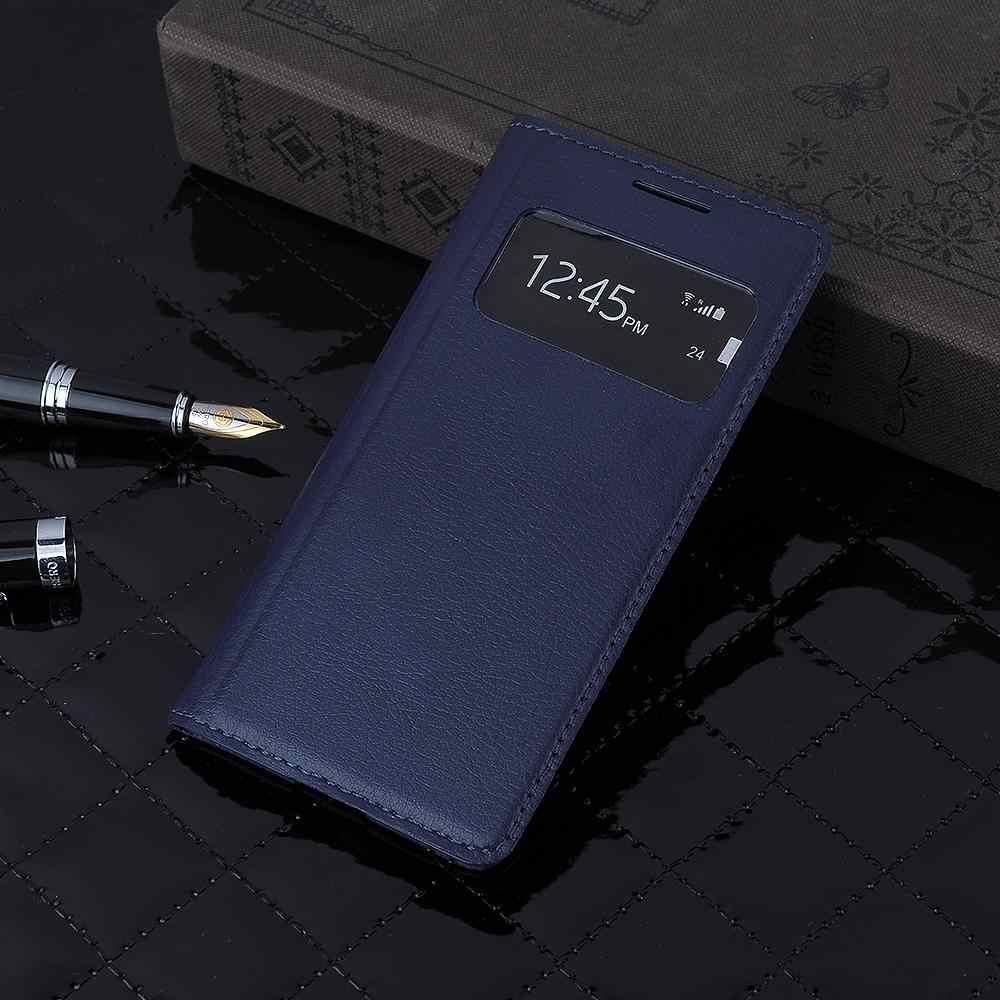 أغطية جلد حقيبة لهاتف سامسونج جالاكسي S4 S4mini I9190 9190 i9192 i9195 غطاء بطارية نافذة الرؤية الغطاء الخلفي