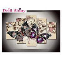 5pcs 5D DIY Diamond Painting butterfly Embroidery Full Round Diamond Cross Stitch Rhinestone Mosaic Painting Home Decor Gift