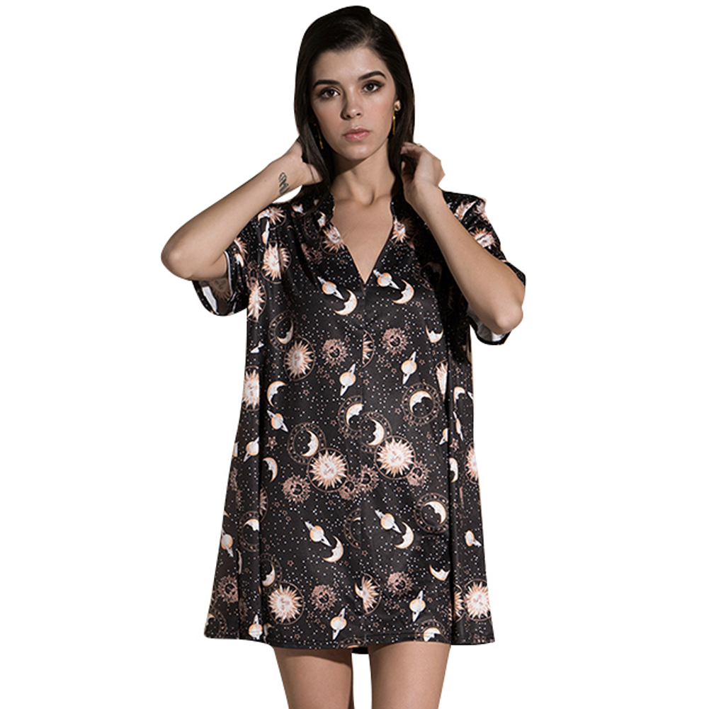 Anself Vintage mujer Mini vestido suelto manga corta v-cuello Luna planeta impresión recta ocasional vestidos de la camiseta vestido de satén negro