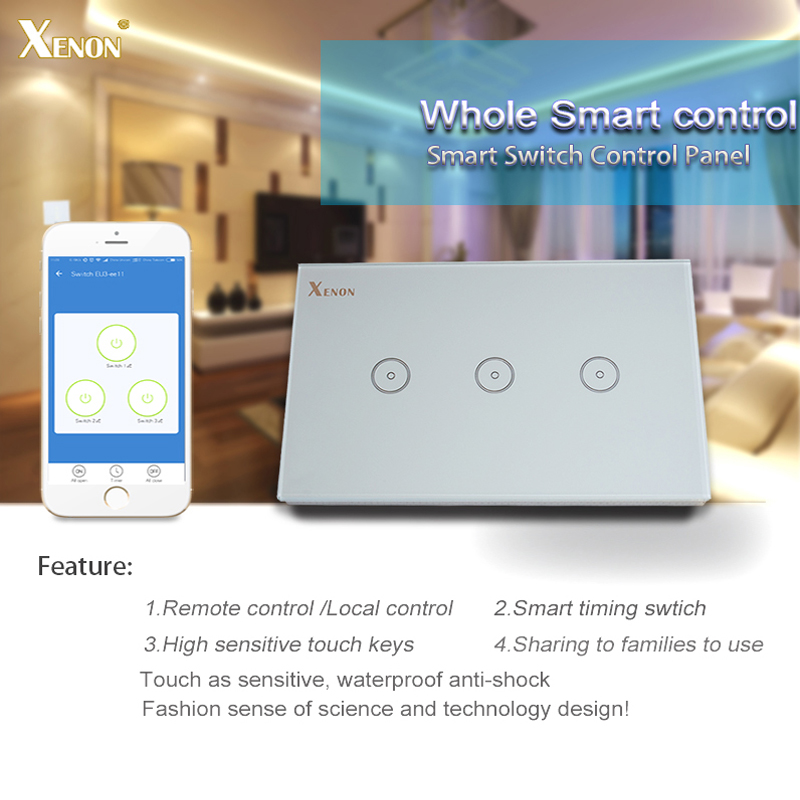 Manufacturer Xenon Smart Switch Work with Alexa Wi-Fi Wall Switch Glass Panel 3-gang Ivory White US Touch Light Switch panel manufacturer xenon wall switch 110 240v smart wi fi switch button glass panel 1 gang ivory white eu touch light switch panel