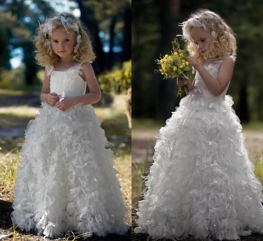 Elegant White Tiered Flower Girl Dresses for Weddings with Sequins Pageant Dress Floor Length Princess Ball Gowns avr sx460 5 pieces sx460 free shipping