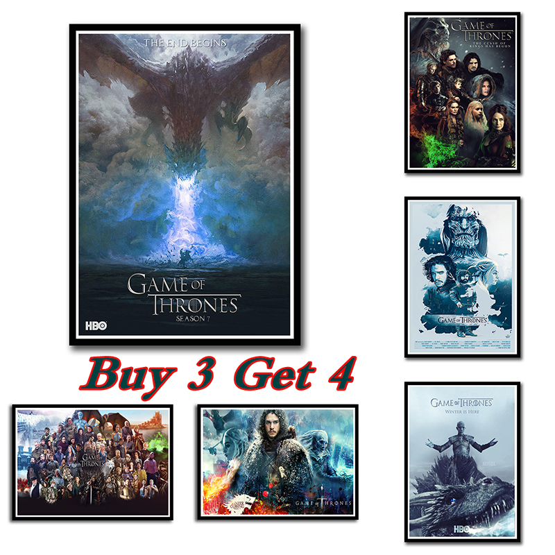 Us 174 38 Offclassic Tv Series Game Of Thrones Season 7 Poster White Cardboard Home Furnishing Wallpaper Painting Wall Art 4230cm No Frame In