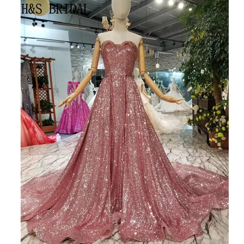 H & S Люкс блестками вечерние платья Милая Розовый Русалка Съемная Поезд Арабский Вечерние платья Robe de Soiree
