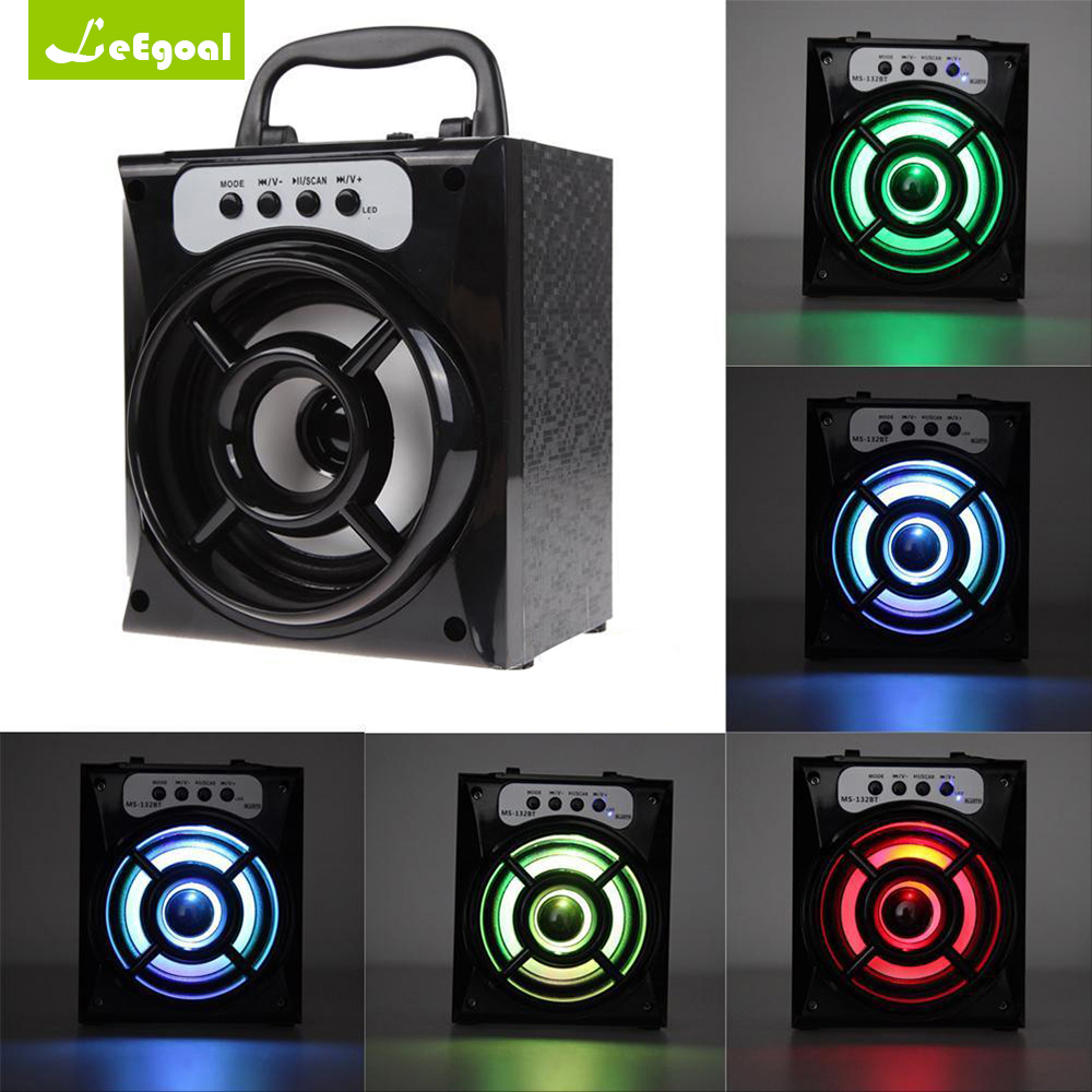MS-132BT Portable Outdoor Wireless Bluetooth Speaker Bass Subwoofer Loudspeaker Stereo Speaker Bass with USB AUX LED TF FM Radio yoobao ybl 202 portable wireless bluetooth v3 0 speaker w tf fm radio micro usb blue
