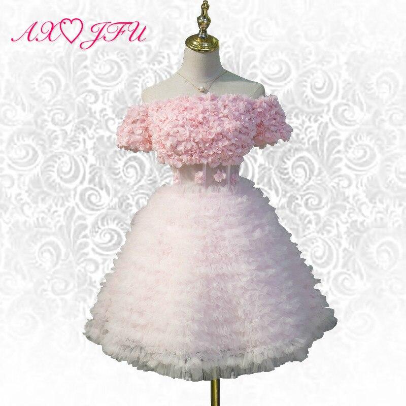 AXJFU розовый кружевной бахромой вечернее платье Лодка шеи ярких цветов торт принцесса короткий розовый вечернее платье оборками розовый бал...