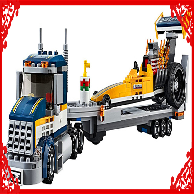 LEPIN 02025 City Vehicles Dragster Transporter Building Block Compatible Legoe 360Pcs DIY   Toys For Children lego city great vehicles буксировщик автомобилей 60081