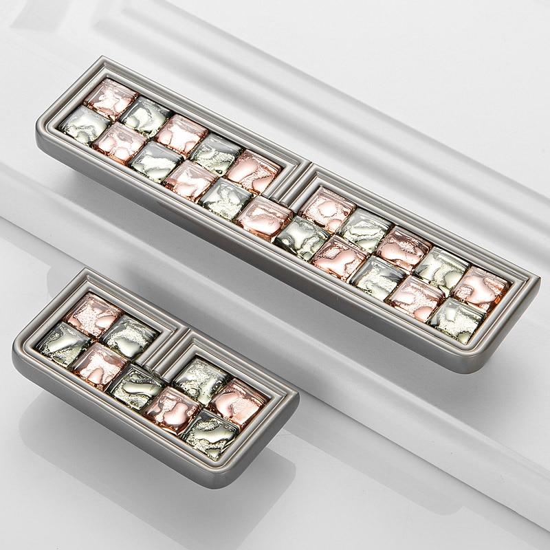 MEGAIRON Crystal Door Handles Luxury Glass Cupboard Knobs