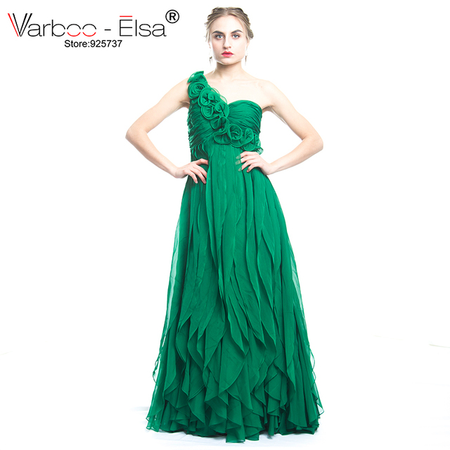 875f2712e476 VARBOO_ELSA New Fashion Green Chiffon Long Prom Dress vestido de festa Sexy  One-Shoulder Sleeveless Evening Dress 3D Floral Gown