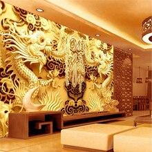Beibehang dragón dorado personalizado foto papel de parede 3D mural papel pintado para paredes paisaje en 3 d pared grande de papel de pared de papel