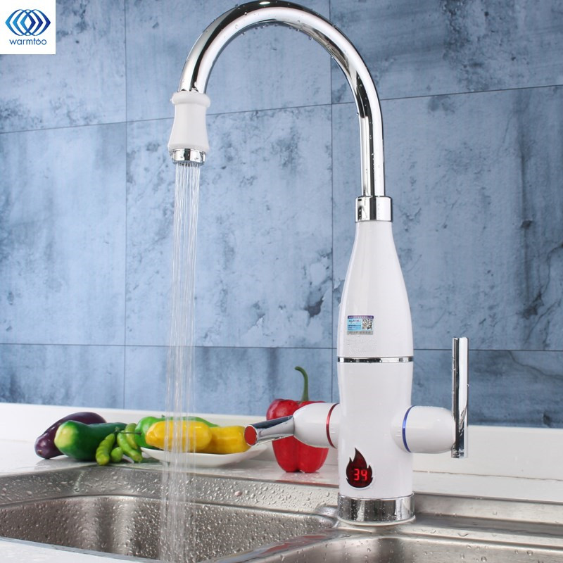 1Pcs Electric Faucet Tap Instant Water Heater Tankless LED Digital Double Handle Kitchen Instant Hot Water Faucet AU 220V 3000W electric water heater led digital kitchen faucet tap instant heating kitchen au plug household 220v 3000w
