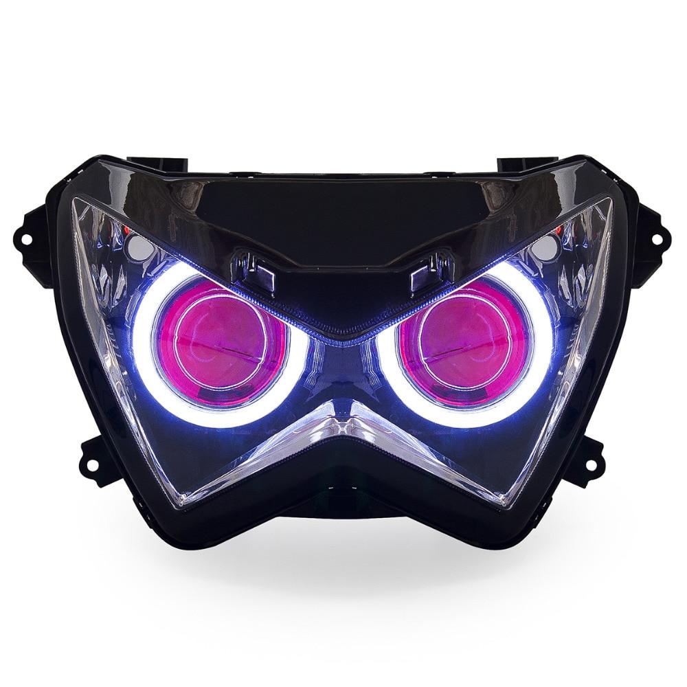 KT Headlight for Kawasaki Z800 2013 2016 LED Angel Eye Red Demon Eye Motorcycle HID Projector