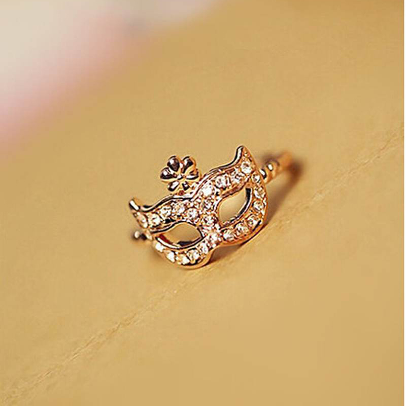 Trendy Womens Rhinestone Mask Rings Lady Mask Ring Adjustable Size Crystal Decoration Gold Color Finger Jewelry