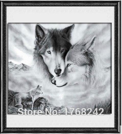 Wolf diamond mosaic 5d full round rhinestones pattern animal embroidery cross beadwork kits crafts - Round Diamond Cross Stitch store