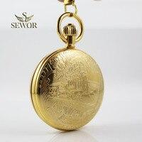 SEWOR 2019 Top Luxury Brand Fashion noble gold steam locomotive pattern double open star Tourbillon Moon phase pocket watch C207
