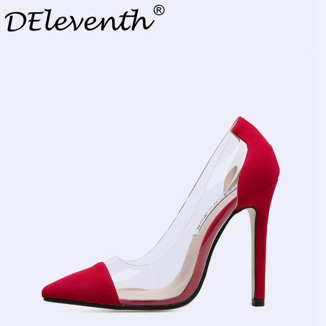 Women's Sexy Pointed-toe Party Transparent Fashion High Stiletto Heel Dress Pumps Shoes