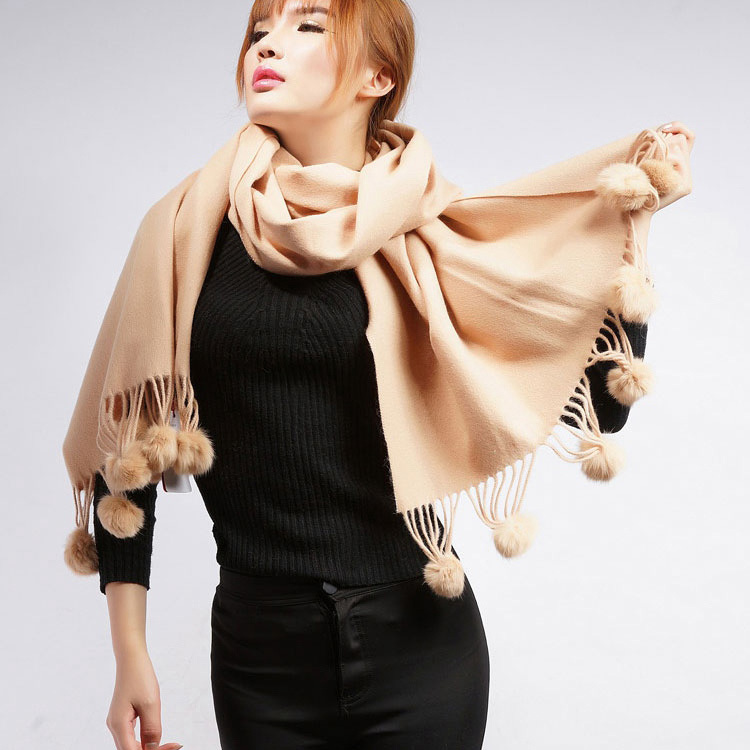 Femmes hiver écharpe épaisse couleur unie grande taille châles épais chaud longue marque vraie fourrure de mouton Cape avec pompon en fourrure de lapin naturel