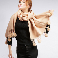 Women Winter Scarf Thick Solid Color Big Size Shawls Thick Warm Long Brand Real Sheep Fur