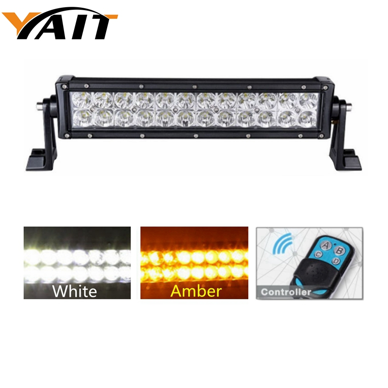 цена на Yait Led Fog Light 72W AMBER WHITE Spot and Flood Combo Beam Off Road LED Light Bar For Off-road Vehicle/ATVs/SUV/Truck etc