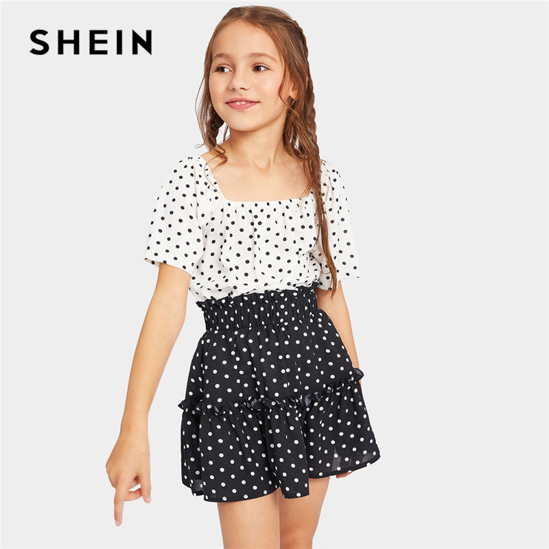 SHEIN Kiddie Polka Dot Top And Frill Tiered Skirt Girls Clothes 2019 Summer Korean Style Short Sleeve Teenager Girl Clothing Set new flip flops summer women sandals 2017 gladiator sandals women shoes bohemia flat shoes sandalias mujer ladies shoes z579
