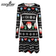 Women Casual Cute Printed Christmas Loose Party Short Dress