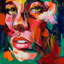 Hand Painted Knife Palette Home Decoration Nielly Francoise Designer Abstract Living Room Oil Painting Canvens Cool Face Poster