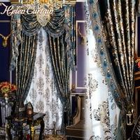 Шторы Helen curtain комплект европейской роскоши Шторы s с Подзор для занавеска для гостиной комплект Bronzing синий Шторы s готовые 051