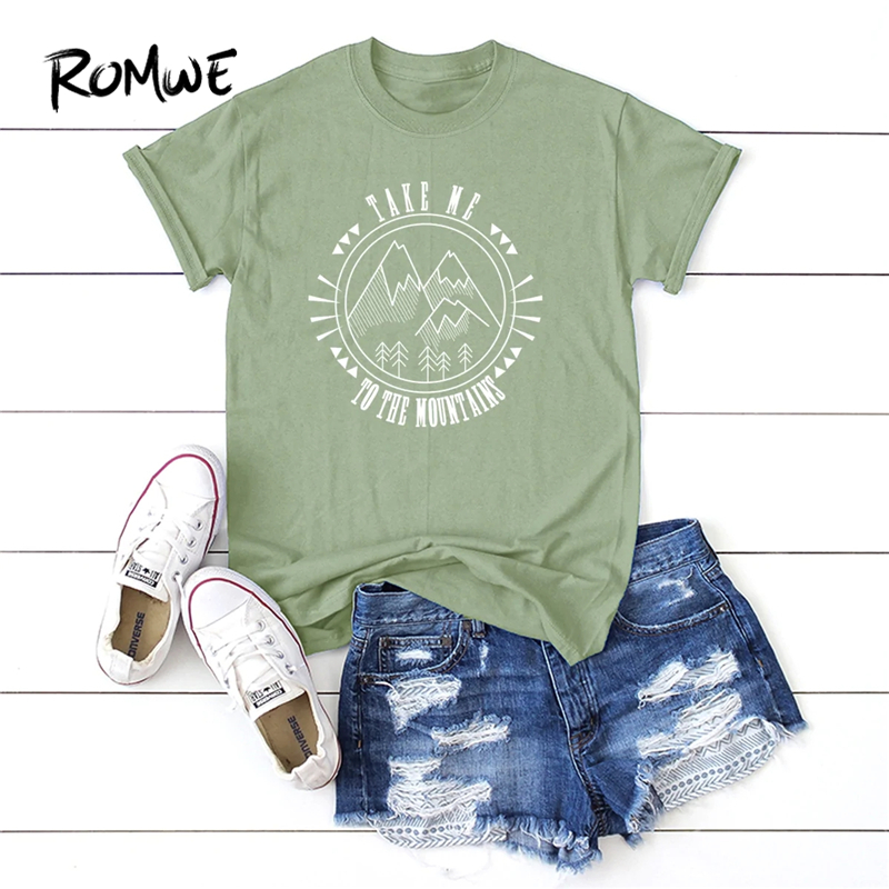 ROMWE Letter And Mountain Print Tee 2019 Summer Basic Women T-shirt Preppy Woman Clothing Young Short Sleeve Casual Tops