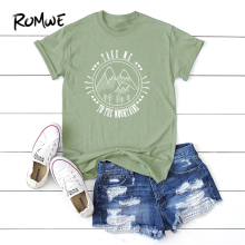 ROMWE Letter And Mountain Print Tee 2019 Summer Basic