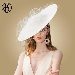 Женская шляпка с вуалью FS, элегантная бежевая или белая шляпка с широкими полями, для церкви и свадьбы, Кентукки шляпа котелок, 2019