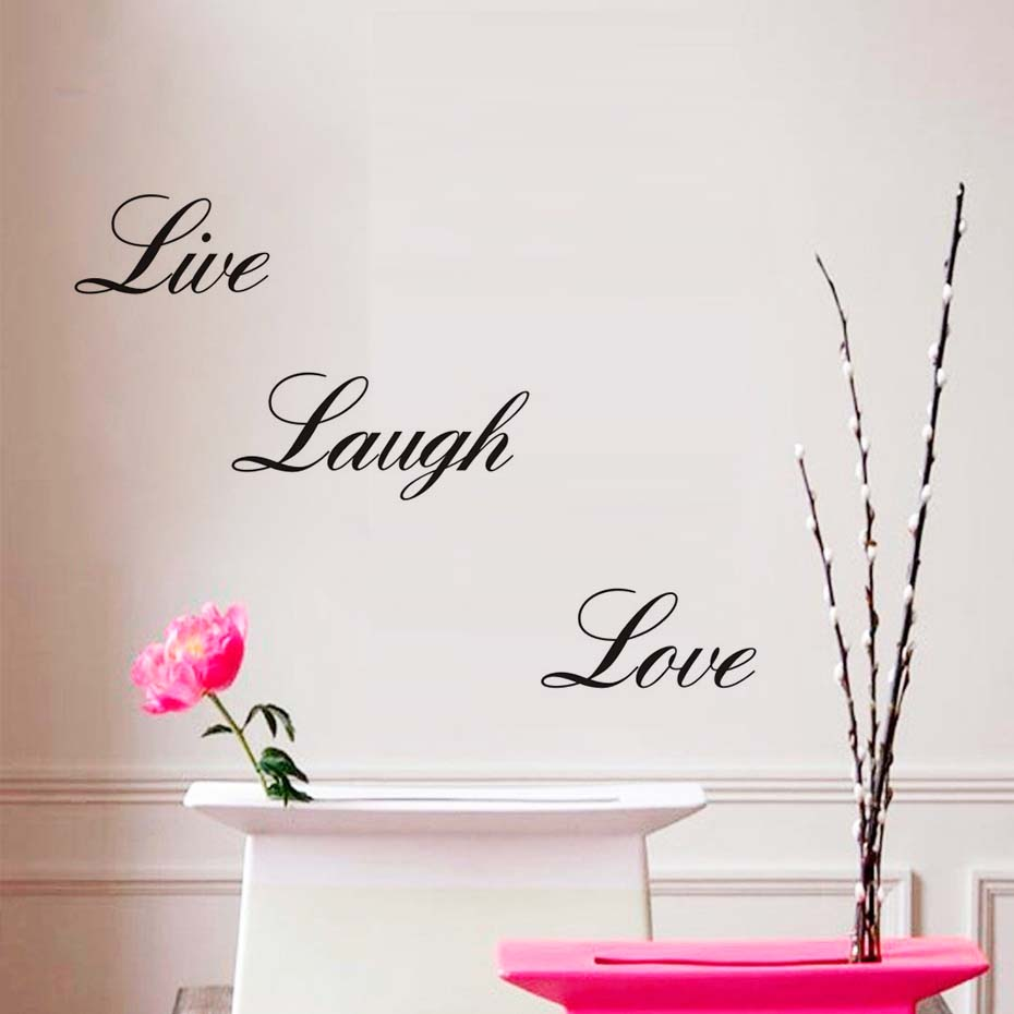 Live Laugh Love Wall Art Quote Murals Vinyl Decal Home Art Decor Paper Inspirational Letters Wall Sticker Living Room Decoration