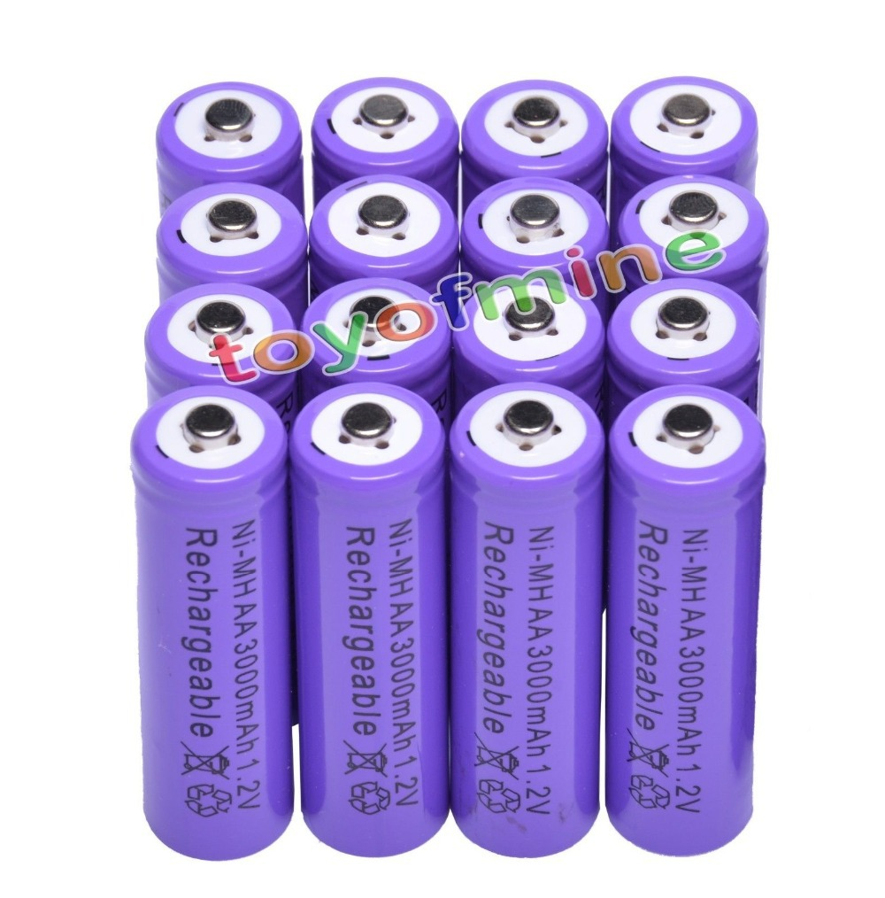 2/4/8/12/16/24pcs AA 3000mAh 2A 1.2 V Ni-MH Purple Rechargeable Battery Cell For MP3 RC Toys Led Flashlight