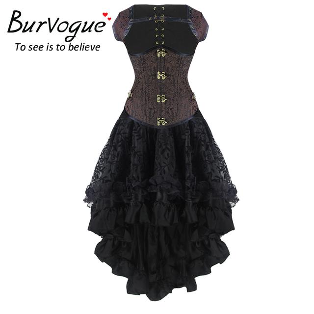 Burvogue nueva steampunk corsé atractivo vestido de las mujeres de cintura alta faldas y control en la cintura corsé steampunk corsé vestido de sirena de la falda