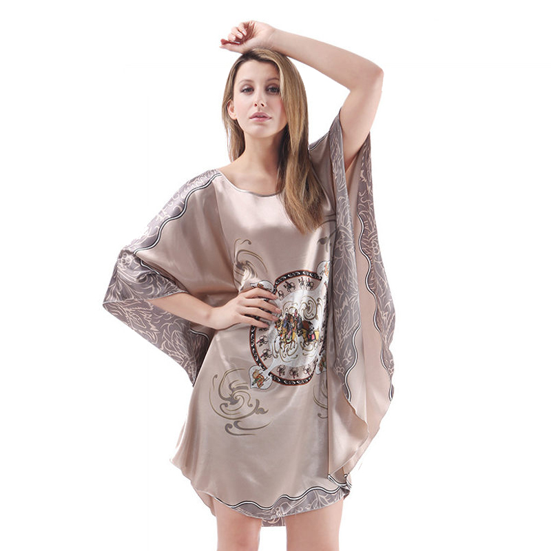 Plus Size Women's Soft Silk Batwing Sleeve Big   Nightgown   Dress Sexy Silky Casual Woman Loose   Nightgowns   &   Sleepshirts   D227