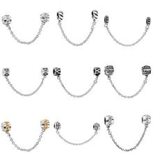 Top Quality Silver Charms Fashion Safety Chain European Charm Fit Snake Chain Bracelet Bangle DIY Original