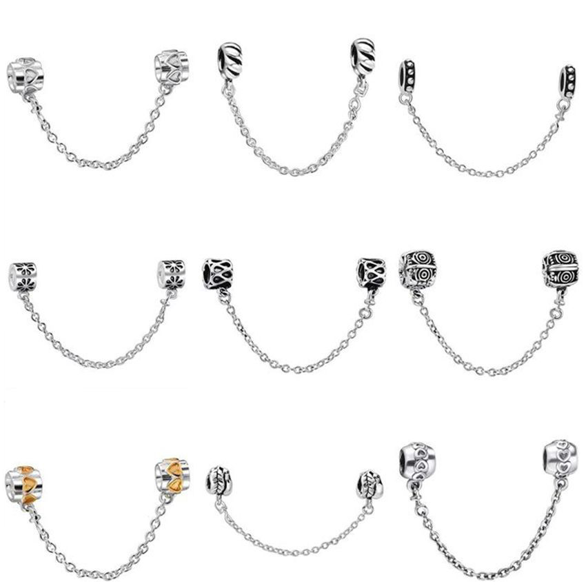 Top Quality Silver Charms Fashion Safety Chain European Charm Fit Snake Chain font b Bracelet b