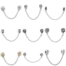 Top Quality Silver Charms Fashion Safety Chain European Charm Fit Snake Chain Bracelet Bangle DIY Original Jewelry Making
