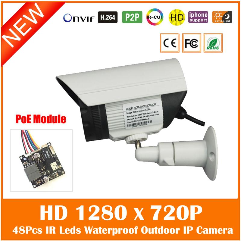 Hd 720p 1.0mp Poe Ip Camera Outdoor Waterproof Bullet Surveillance Security Night Vision Cctv Cmos Webcam Freeshipping Hot wistino cctv camera metal housing outdoor use waterproof bullet casing for ip camera hot sale white color cover case