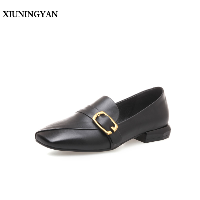 XIUNINGYAN 2018 Women Flats Fashion Buckle Square Toe High Heels Casual Soft Leather Slip-on Leisure Low Heel Shoes Woman Shoes цена 2017