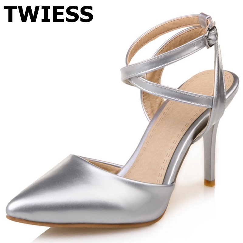 Pointed Toe gold silver pink black women pu leather pumps Sexy Thin High Heels Pointed Toe Ladies Shoes  Plus Size 43