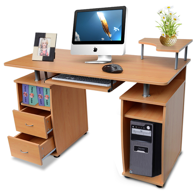 shellhard desktop computer table modern computer desk with shelves cupboard u0026 drawers for home office study